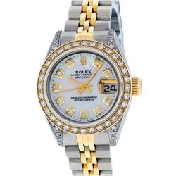 Rolex Ladies Two Tone 14K MOP Diamond Lugs Datejust Watch