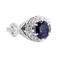 14KT White Gold 4.10 ctw Sapphire and Diamond Ring