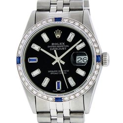 Rolex Men's Stainless Steel Black Baguette Diamond Dial & Sapphire Datejust Wris