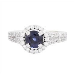 14KT White Gold Ladies 1.13 ctw Sapphire and Diamond Ring