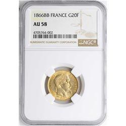 1866BB France 20 Francs Gold Coin NGC AU58