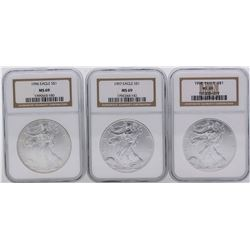 Lot of 1996-1998 $1 American Silver Eagle Coins NGC MS69