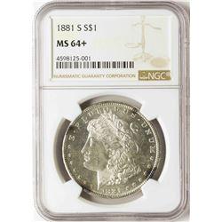 1881-S $1 Morgan Silver Dollar Coin NGC MS64+