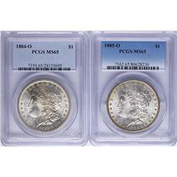Lot of 1884-O & 1885-O $1 Morgan Silver Dollar Coins PCGS MS65
