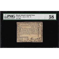 July 2, 1780 $1 Rhode Island Colonial Currency Note Fr. RI-282 PMG Choice About