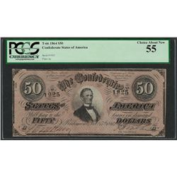 1864 $50 Confederate States of America Note T-66 PCGS Choice About New 55
