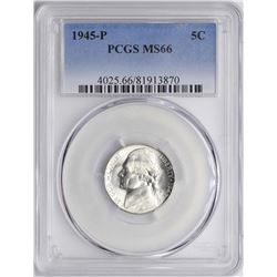 1945-P Jefferson Nickel Coin PCGS MS66