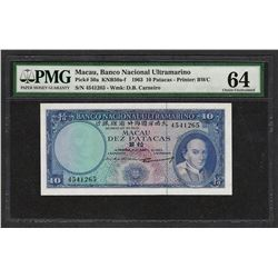 1963 Banco Nacional Ultramarino Macau 10 Patacas Note PMG Choice Uncirculated 64