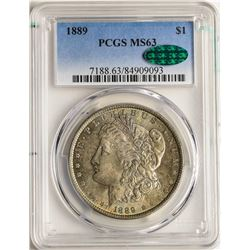 1889 $1 Morgan Silver Dollar Coin PCGS MS63 CAC AMAZING TONING