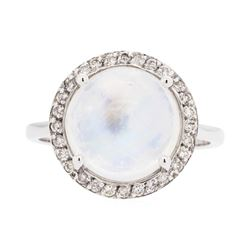 14KT White Gold Lady's 5.00 ctw Moonstone and Diamond Ring