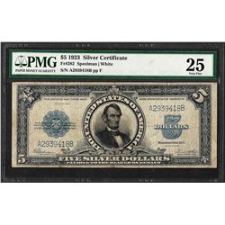 1923 $5 Porthole Silver Certificate Note Fr.282 PMG Very Fine 25