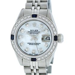 Rolex Ladies Stainless Steel Mother Of Pearl Diamond & Sapphire Datejust Wristwa