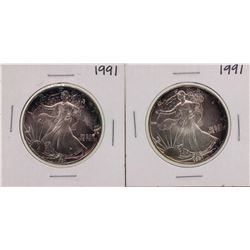 Lot of (2) 1991 $1 American Silver Eagle Coins