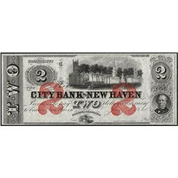1865 $2 City Bank of New Haven Obsolete Note