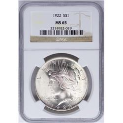 1922 $1 Peace Silver Dollar Coin NGC MS65 Nice Toning