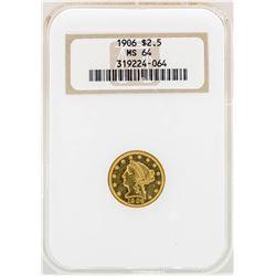 1906 $2 1/2 Liberty Head Quarter Eagle Gold Coin NGC MS64