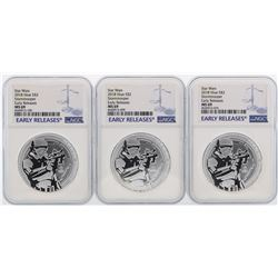Lot of (3) 2018 Niue $2 Star Wars Stormtrooper Silver Coins NGC MS69 Early Relea
