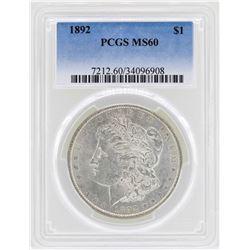 1892 $1 Morgan Silver Dollar Coin PCGS MS60