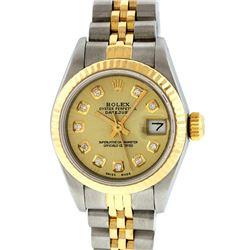 Rolex Ladies Two Tone 14K Champagne Diamond 26MM Datejust Wristwatch