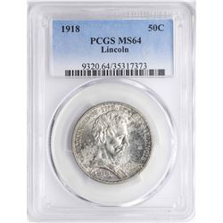 1918 Lincoln Illinois Centennial Commemorative Half Dollar Coin PCGS MS64