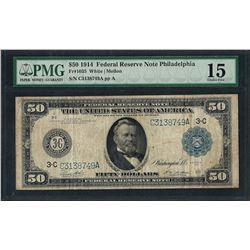 1914 $50 Federal Reserve Note Philadelphia Fr.1035 PMG Choice Fine 15