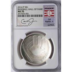 2014-P $1 Baseball Hall of Fame Coin NGC MS70 Cal Ripken Jr.