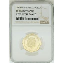1977FM Netherlands Antilles 200 Gulden Stuyvesnt Gold Coin NGC PF69 Ultra Cameo