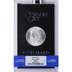 1884-CC $1 Morgan Silver Dollar Coin Uncirculated GSA NGC MS63