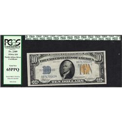 1934A $10 Silver Certificate WWII Emergency North Africa Note PCGS Gem New 65PPQ