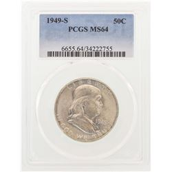 1949-S Franklin Half Dollar Coin PCGS MS64