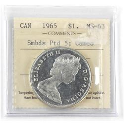 1965 Canada Silver Dollar. MS-63. Small Beads. Ptd