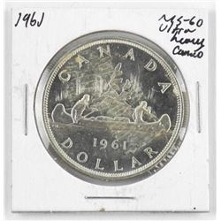 1961 Canada Silver Dollar. MS60. Ultra Heavy Cameo