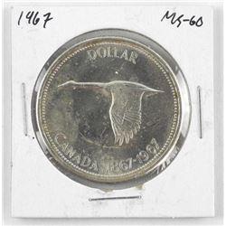 1967 Canada Silver Dollar. MS60.