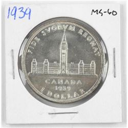 1939 Canada Silver Dollar. MS60.