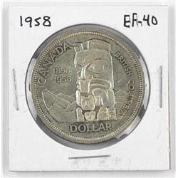 1958 Canada Silver Dollar. EF-40