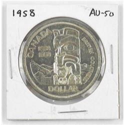 1958 Canada Silver Dollar. AU-50