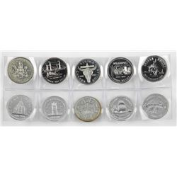 Lot (10) Canada Silver Dollar .500 Silver Proof