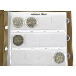 Canada Silver Dollar Collection 12 Coins. In Album