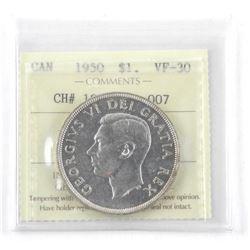 1950 Canada Silver Dollar Coin (VF-30) ICCS. (MER)