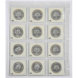 Lot (12) Cased Silver Dollars, 1965 BU UNC (2x2)