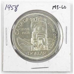 1958 Canada Silver Dollar. MS-60