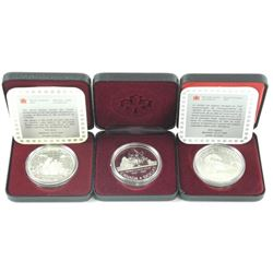 Lot (3) Cased Silver Dollars: 1986, 1987, 1989