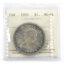 1955 Canada Silver Dollar MS-64. ICCS (CR)