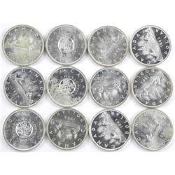Lot (12) Canada Silver Dollars