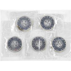 Lot (5) Canada Silver Dollar PL 1964