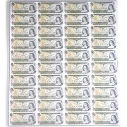 Bank of Canada UNCUT Sheet 1973 40 - One Dollar No