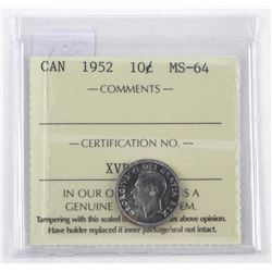 1952 Canada Silver 10 Cent. MS-64. ICCS