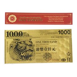 24 Karat Gold Leaf Collector Note - 1000 Hong Kong