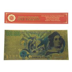 24 Karat Gold Leaf Collector Note - 'ITALY' 500,00