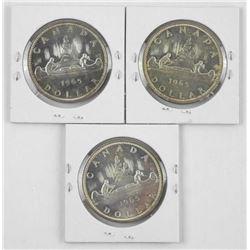 Lot (3) 1965 Canada Silver Dollars